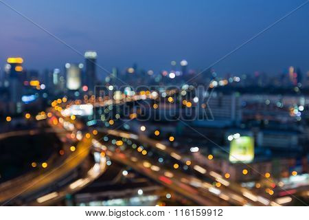 Abstract blurred bokeh light highway intersection w