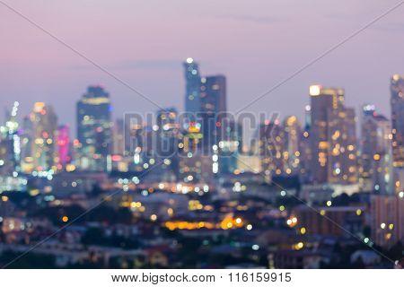 Abstract blurred bokeh city lights at night