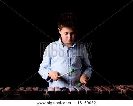 Boy Playing On Xylophone