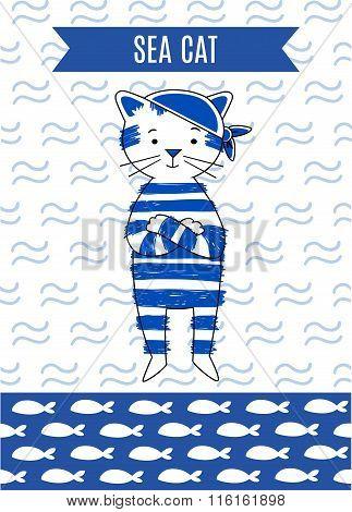 Card cute retro pirate cat sea.