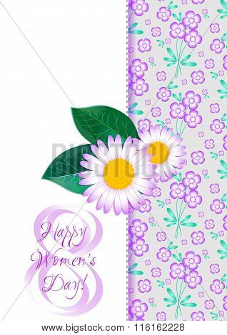 Greeting Card With Camomiles On Lilac Floral Pattern For International Women's Day. March 8