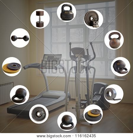 Sports equipment: the weight of 32 kg, 16 kg, disks, a dumbbell