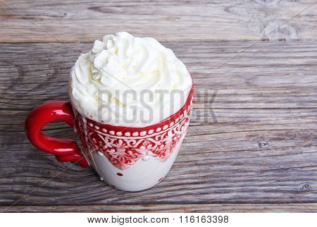 Hot Cocoa Drink Cappuccino With Whipped Cream
