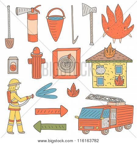 Fire alert objects set