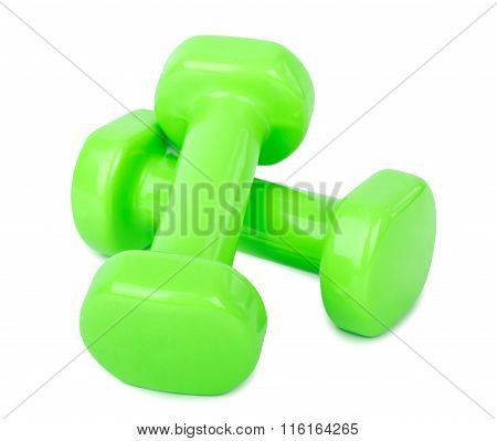 Pink Dumbbell Weights Isolated On White