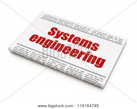 Science concept: newspaper headline Systems Engineering