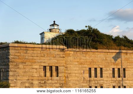Clark's Point Lighthouse Tower On Fort As Sun Sets