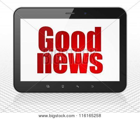 News concept: Tablet Pc Computer with Good News on display