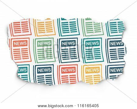 News concept: Newspaper icons on Torn Paper background