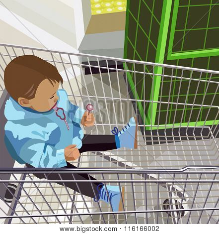 little boy sitting in the food trolley (vector illustration)