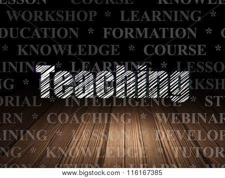 Studying concept: Teaching in grunge dark room