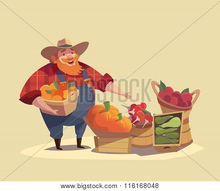 Farmer wearing denim with bucket of fruits and vegetables