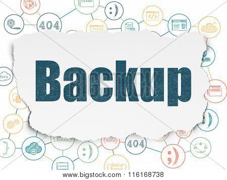 Database concept: Backup on Torn Paper background