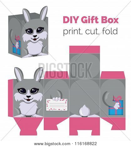 Adorable Do It Yourself DIY rabbit gift box with ears for sweets, candies, small presents. Printable