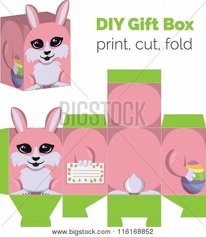 Adorable Do It Yourself DIY Easter bunny with egg gift box with ears for sweets, candies, small pres