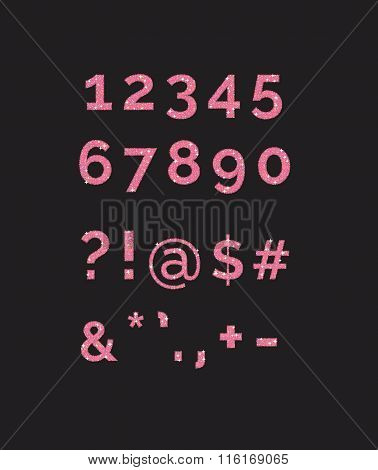 A set of stylized  sparkling pink glitter fancy digits numbers and symbols. Use to make your own tex