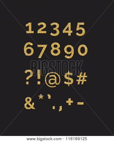 A set of stylized  sparkling golden glitter fancy digits numbers and symbols. Use to make your own t