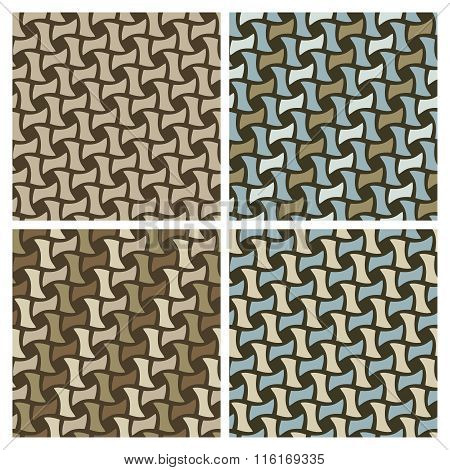 Basket Weave seamless pattern collection. Tiles are on separate layers, grouped by color and in the swatches panel.