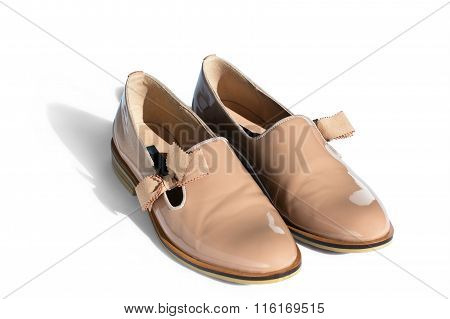 Classic Beige Shoes From A Patent Leather With A Small Heel