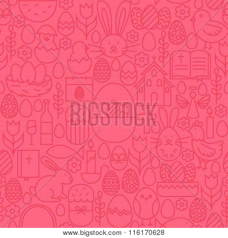 Thin Line Happy Easter Seamless Pink Pattern