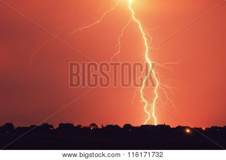 Lightning hits at stormy night