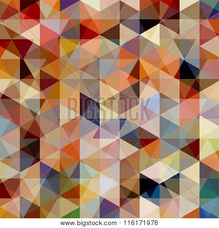 Geometric Pattern, Triangles Vector Background In Beige And Brown Tones. Illustration Pattern. Brown