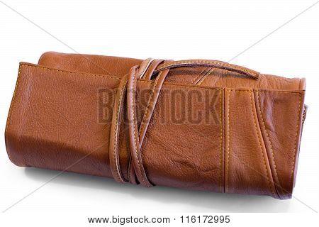 Folded Leather Purse On Ties