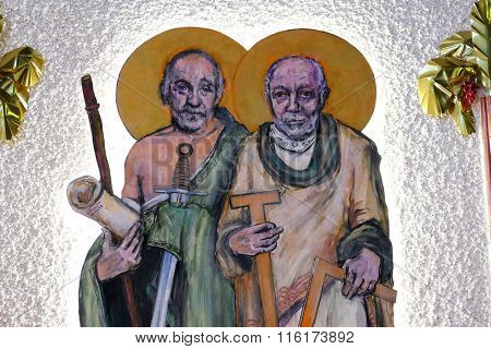 ZAGREB, CROATIA - JANUARY 31: St. James the Less and St. Thomas on tha altar of the church of Saint Blaise in Zagreb, Croatia on January 31, 2015