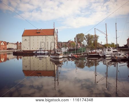 Sailboats On The River Motlawa In Gdansk.