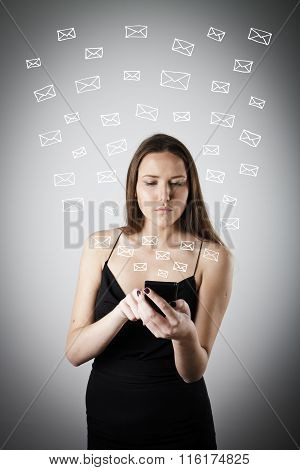 Young Woman With Telephone. E-mail.