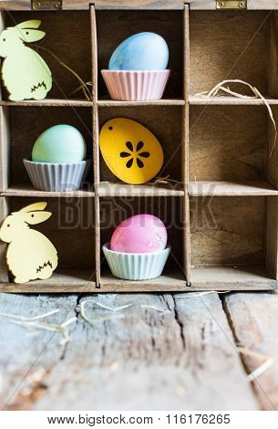 Easter Concept With Eggs And Bunny