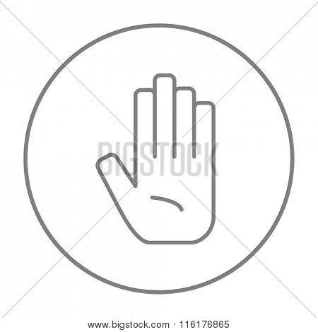 Medical glove line icon.