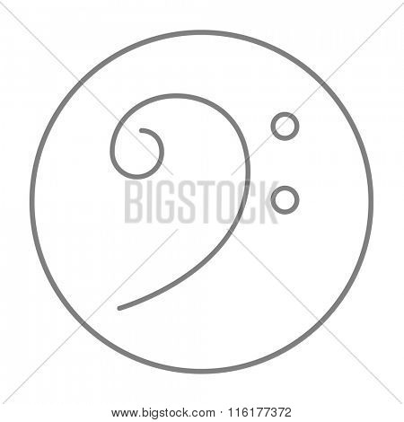 Bass clef line icon.