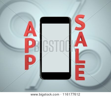 Smart phone display - app sale mockup. Clipping path included.