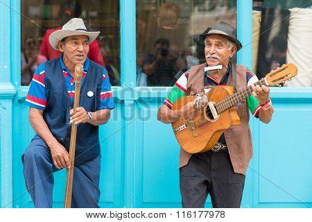 HAVANA,CUBA - JANUARY 26,2016 : Senior musicians playing traditional cuban music on a street in Old Havana