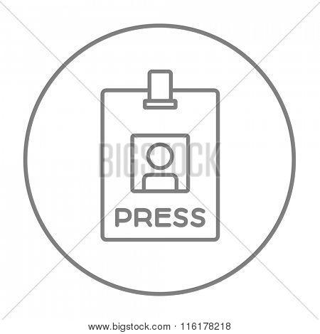 Press pass ID card line icon.