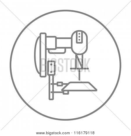 Industrial automated robot line icon.