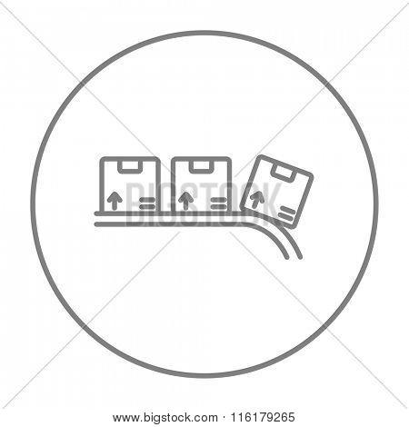 Conveyor belt for parcels line icon.