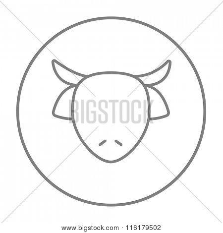 Cow head line icon.
