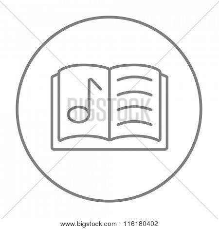 Music book line icon.