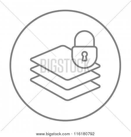 Stack of papers with lock line icon.