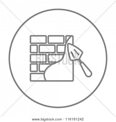 Spatula with brickwall line icon.