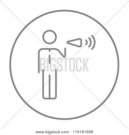 Businessman with megaphone line icon.