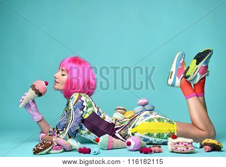 Woman In Hot Pink Party Wig Eating Fake Ice Cream And Sweet Candy Cakes Candies