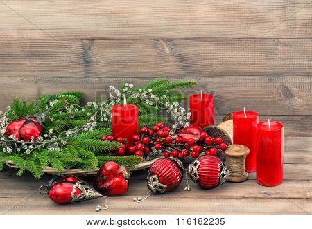 Christmas Decorations Toys Ornaments. Red Baubles And Candles