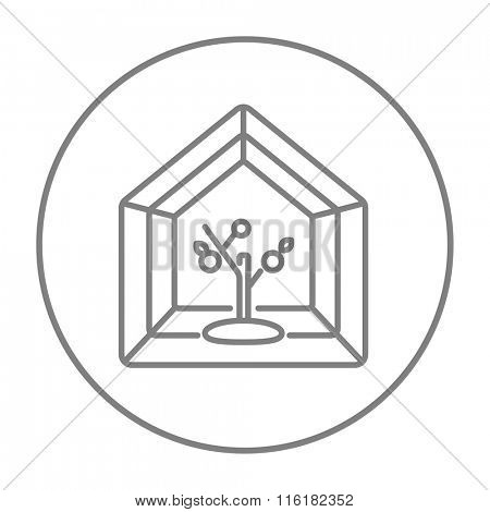 Greenhouse line icon.