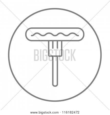 Sausage on fork line icon.
