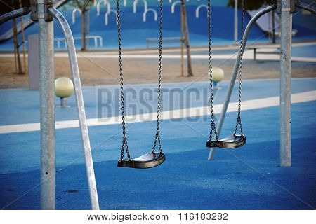Modern playground with swings