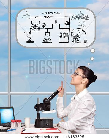 Scientific Researcher Woman Thinking