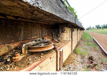 Rusted Signal Gear In Disused Railway Platform